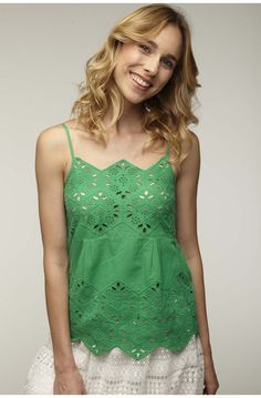 Top bretelles bi-matiere avec broderie anglaise vert rio - tee-shirts femme - naf naf 1 Camisole Top, Tee Shirts, Couture, Embroidery, Tank Tops, Women, Fashion, Broderie Anglaise, Suspenders