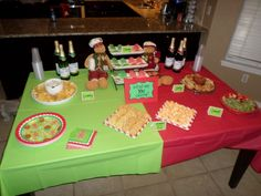 "Christmas Gender Reveal Party: Our theme was red and green, so we kept the theme going for the food too. The food table had a sign that read ""What Are YOU Craving?"" then had snacks for different cravings (sweet, salty, chewy, crunchy)"