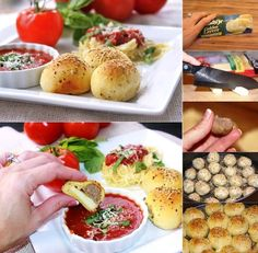 """DIY Easy To Make Meatball Stuffed Buns Ingredients: 1 can """"Pillsbury Golden Layers Biscuits"""" 12 frozen meatballs cut in half string cheese (you have to cut them into 4 pieces / stick) Parmesan cheese Spices to give taste: dried basil, oregano, garlic powder, salt/pepper and marinara sauce for dipping."""