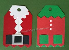 """Create a red strip with the picket fence cartridge, then trim to 2""""x3"""". Use 2"""" Square punch & trim top to give it a """"tag"""" look. Weave black paper through holes for """"belt"""". Use negative of Picket Fence punch for white fur & Blossom Place n Punch for beard. Color a scrap piece of white Silver pen for buckle and add a black strip of paper on top.  Use a hole punch for tag."""