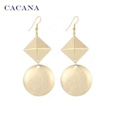 CACANA Gold Plated Dangle Long Earrings For Women Pyramid Shape And A Round Bijouterie Hot Sale No.A351 A352-in Drop Earrings from Jewelry & Accessories on Aliexpress.com | Alibaba Group