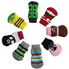 Hot Dog Socks! AMA(TM) 4PCS Cute Pet Puppy Small Dog Doggie Anti-slip Knit Weave Winter Warm Socks Shoes Booties Skid Bottom *** Check out this great product. (This is an affiliate link and I receive a commission for the sales)
