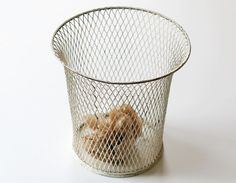 Vintage White Wire Waste Basket   Office Trash Can   Expanded Metal Co,  Chicago,