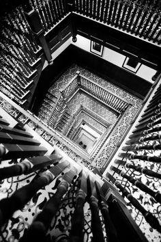 Cubículo de la escalera principal / Belleza en Blanco y Negro #treppen #stairs #escaleras