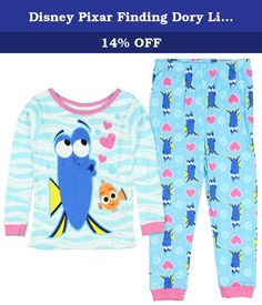 Disney Pixar Finding Dory Little Girls' Toddler 2 Piece Pajama Set 5T. With help from Nemo and Marlin, Dory the forgetful fish embarks on a quest to reunite with her mother and father. This toddler pajama set features great graphics in vivid colors. Made of 100% cotton. It features a long sleeve top, and an overall graphic on both top and pants.