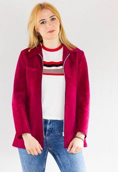 Amazing 70's Raspberry Suede  Fitted Jacket Coat