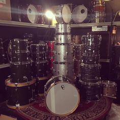 C&C drums .. I could only fit six kits in this photo sorry guess you'll just have to come & see/play/hear them for yourself #Yahtzee !