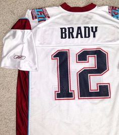 Men(XXL) TOM BRADY SUPER BOWL 42 JERSEY White XLII New England Patriots Vtg  2008 f91b998d3