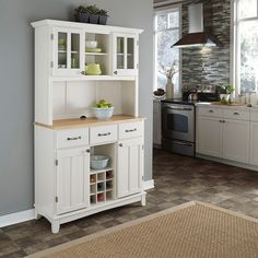 White Hutch Buffet W Wood Top Kitchen Storage Cabinet Drawers Dining Room New #HomeStyles #Contemporary #Drawer #DiningRoom #Kitchen #Storage
