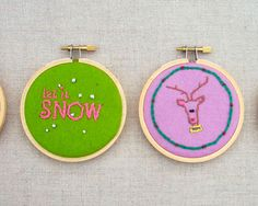 Miniature Christmas Embroidery Hoops