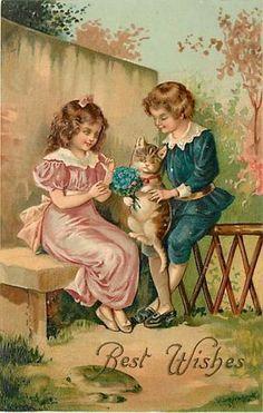 Wonderful vintage postcard, Best Wishes