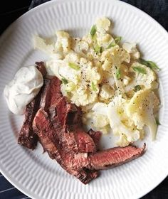 Steak With Cumin-Lime Yogurt and Cauliflower Salad from realsimple.com #myplate #protein #vegetables