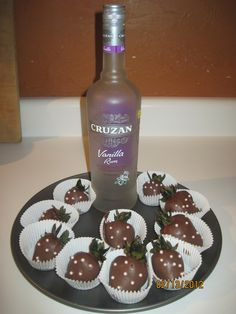 chocolate covered rum soaked strawberries