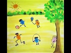 How to make easy Thumb Painting Scenery Art Drawings For Kids, Drawing For Kids, Art For Kids, Drawing Drawing, Finger Painting For Toddlers, Thumb Painting, Easy Scenery Drawing, Vegetable Painting, Fingerprint Crafts