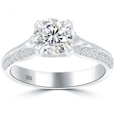 1.78 Carat E-VS1 Certified Natural Round Diamond Engagement Ring 18k White Gold - Vintage Engagement Rings - Engagement