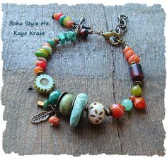 Boho Jewelry This wonderful bracelet is a reflection of my passion for earthy Bohemian colors and textures. This nature inspired bracelet features rustic - Bohemian Bracelets, Colorful Bracelets, Bohemian Jewelry, Fashion Bracelets, Beaded Jewelry, Jewelry Bracelets, Rustic Jewelry, Jewellery Earrings, Indian Jewelry
