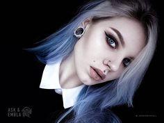 Shop the best of alternative jewelry — Plugs & Tunnels Septum Jewelry, Ear Jewelry, Bts Hair Colors, Kpop Hair, Fantasy Hair, Girls Makeup, Silver Hair, Short Girls, Blue Hair