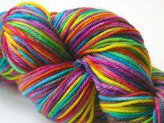 Rainbow Wool Yarn Hand Painted Superwash by BeneathTheRowanTree, $19.50
