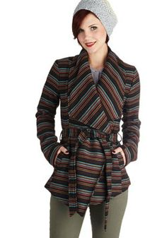 Another light weather jacker but much more casual. Why do I love coats and jackets so much?  State of the Art Show Jacket in Stripes, #ModCloth