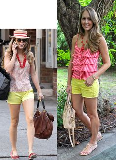 J's Everyday Fashion: Colorful Shorts- flip this! Red shorts with yellow top!