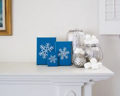 SNOWFLAKE Embossed Silver and Satin Turquoise Enamel on Canvas Handmade in St. Louis, MO  Let It Snow, Let It Snow, Let It Snow! The lights are up,