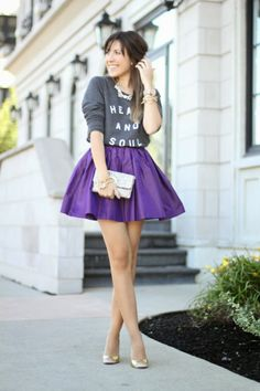 graphic sweatshirt + party skirt