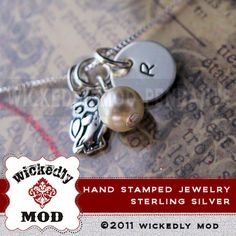Personalized Necklace - Hand Stamped Jewelry - Name Necklace - Silver Jewelry - PIPPIN tiny initial charm with owl charm stamped necklace