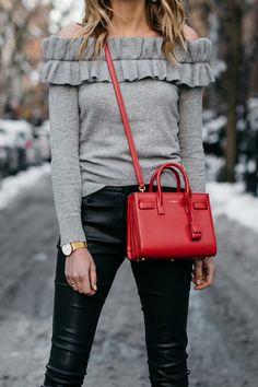NYFW Fall/Winter 2017, Streetstyle, Club Monaco Grey Ruffle Off-the-Shoulder Sweater, Black Faux Leather Pants, Saint Laurent Sac de Jour Red