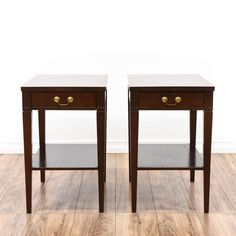 """These """"Mersman"""" end tables are featured in a solid wood with a glossy mahogany finish. These traditional style side tables have a second tier, a single spacious drawer and brass hardware. Perfect for holding drinks! #americantraditional #tables #endtable #sandiegovintage #vintagefurniture"""
