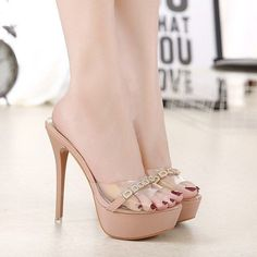 New Rhinestones Slippers Summer Fashion Thin High-heeled Women sandals High Heels Pumps Shoes - stilettomules Sexy High Heels, Frauen In High Heels, Beautiful High Heels, Platform High Heels, High Heels Stilettos, Womens High Heels, Stiletto Heels, Classy Heels, Platform Mules