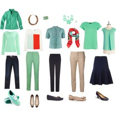 Mint Green accents for my Navy/Beige capsule wardrobe