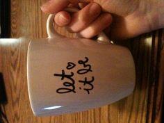 Coffee mug. tyools: sharpie, coffee mug. Bake on 350 for 20-30 mins !!