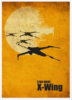 Star Wars Millenium Falcon, X-Wing and ATAT Vintage Poster