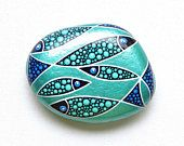 Hand Painted Fish Stone, School of Fish Design Rock, Painted Beach Rock, Aqua Blue Green Painted Stone, OOAK Fish Design