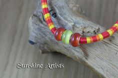 Summer necklace-beach jewellery-orange and yellow Glass Murano beads-wrapped in red, orange and yellow embroidery thread-adjustable clasp by SunshineArtists on Etsy