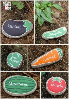 Gartenidee: Steine bemalen als Schilder fürs Gemüsebeet. Wie toll ist denn bitte diese Idee? Allerdings muss man hier auf jeden Fall wetterbeständige Farbe zum Bemalen der Steine verwenden.