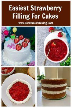 Strawberry Cake Recipes, Chocolate Cake With Strawberry Filling Recipe, Strawberry Filled Cupcakes, Strawberry Birthday Cake, Strawberry Topping, Just Desserts, Dessert Recipes, Health Desserts, Vegan Desserts