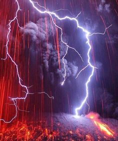 Volcanic eruption during a storm in Japan.
