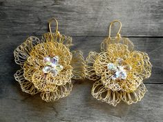 bridal earrings gold plated wire crochet flower earrings with crystal drops. $39.00, via Etsy.