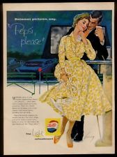 1958 couple at drive-in movie theatre Pepsi-Cola vintage print ad