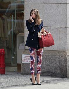 Olivia Palermo - floral print skinny jeans, navy blue peacoat