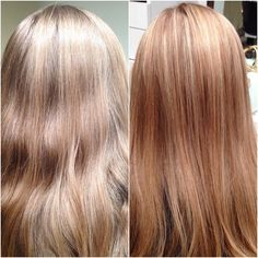 A Before And After From Kamen At Or Dulles Location Virgin Hair With Highlights Strawberry Blonde Low Lights Put In