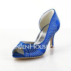 Wedding Shoes - $59.99 - Satin Cone Heel Peep Toe Sandals Wedding Shoes With Rhinestone (047026391) http://jenjenhouse.com/Satin-Cone-Heel-Peep-Toe-Sandals-Wedding-Shoes-With-Rhinestone-047026391-g26391