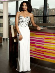 Sheath Column Sweetheart Chiffon Floor Length Sleeveless Rhinestone Prom Dresses