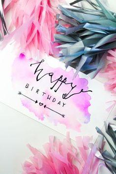 Make DIY watercolor cards l birthday cards l paint l watercolors Best Picture For Diy Birthday book Diy Birthday Book, Birthday Cards For Mom, It's Your Birthday, Tumblr Birthday Cards, Card Birthday, Cumpleaños Diy, Karten Diy, Colorful Birthday, Kids Cards