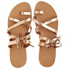 ae9cf167479 KYMA Skiathos Metallic Leather Sandal Metallic Leer, Platte Sandalen,  Platte Schoenen, Vetersandalen,