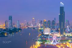 Bangkok skyline - Bangkok vantage point of city skyline view.