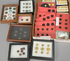 Two box lots of button collections including seven enamel decoration ~ Realized Price $1,125.00