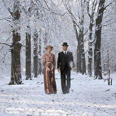 Murdoch escorts Julia through the snow
