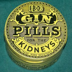 Gin - now in convenient pill form! Specially formulated to support superior kidney function! Vintage Pantry, Vintage Tins, Vintage Antiques, Retro Advertising, Vintage Advertisements, Ads, Apothecary Shoppe, Pills, The Cure